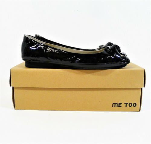 Me Too Women's Black Patent Leather Norma Flower Flats Size 9.5 M