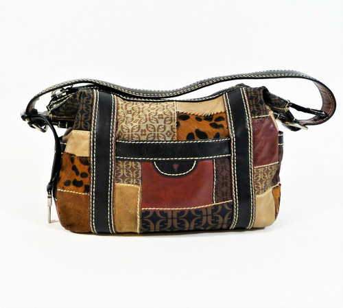 Fossil Brown Patchwork Purse Handbag - **WEAR ON CORNERS