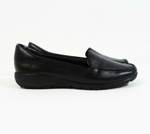 Easy Spirit Women's Black Leather Abide Slip On Casual Flats Shoes Size 7 W -NEW