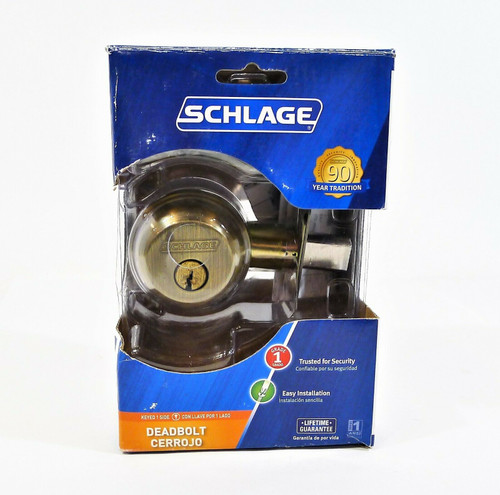 Schlage Deadbolt Antique Brass Single-Cylinder Deadbolt Model #B60N V - OPEN BOX