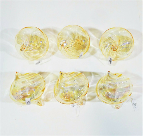 Set of 6 CB2 Iridescent Glass Swirl Top Shaped Christmas Ornament 434-706