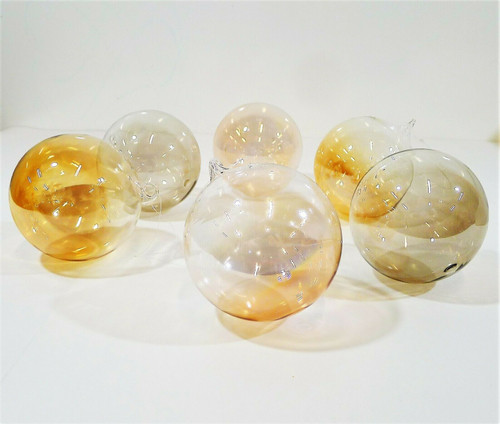 "Set of 6 CB2 Luster 4"" Glass Ornaments Christmas - OPEN BOX"