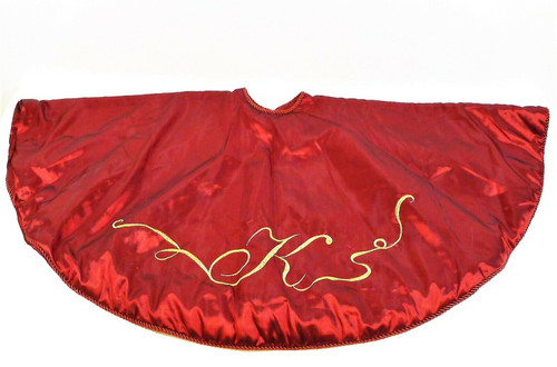 """Earl & Wilson Red Holiday Tree Skirt with the Letter K in Gold 50"""""""