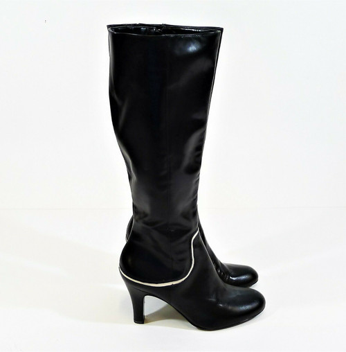 Antonio Melani Black with White Trim Knee High Glove Fit Heeled Boots Size 7M