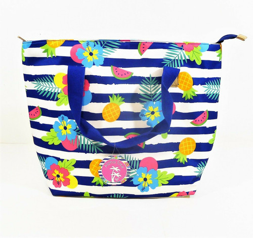 Aloha Tote Blue and White Striped Beach Summer Bag - NEW WITH TAGS