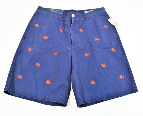Vineyard Vines Men's Blue w/ Red Embroidered Crab Club Shorts Size 34 - NEW