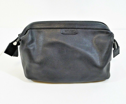 Calvin Klein Men's Black Leather Small Shave Toiletry Carrying Case Dopp Kit