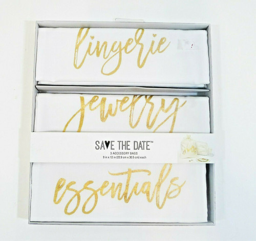 Save the Date 3 Accessory Bags Lingerie, Jewelry and Essentials - NEW