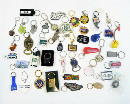 Lot of Miscellaneous Keychains - Harley Davidson, Houston Chronicle and More