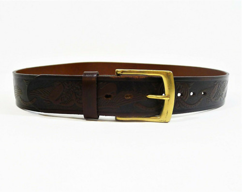 Wrangler Men's Dark Brown Genuine Leather Tooled Eagle Western Belt Size 34
