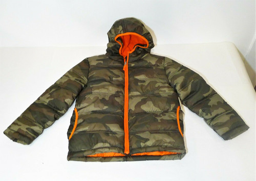 Faded Glory Boy's Green Camo Bubble Jacket Coat Size M (8) - NEW WITH TAGS
