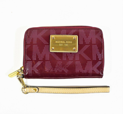 Michael Kors Women's Maroon Small Zip Around Wallet Card Carrier **WORN LETTERS