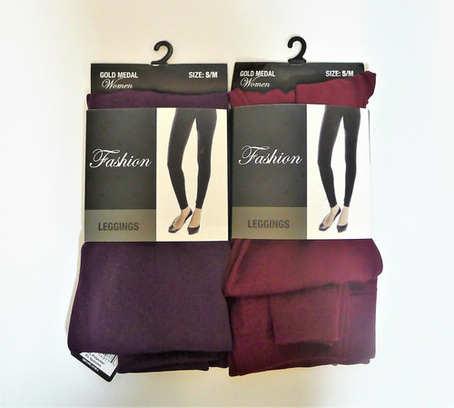 Set of 2 Gold Medal Women's Leggings Purple and Maroon Size S/M - NEW WITH TAGS