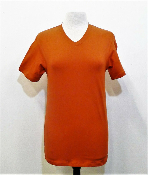 Pascali Women's Burnt Orange V Neck T Shirt Size M