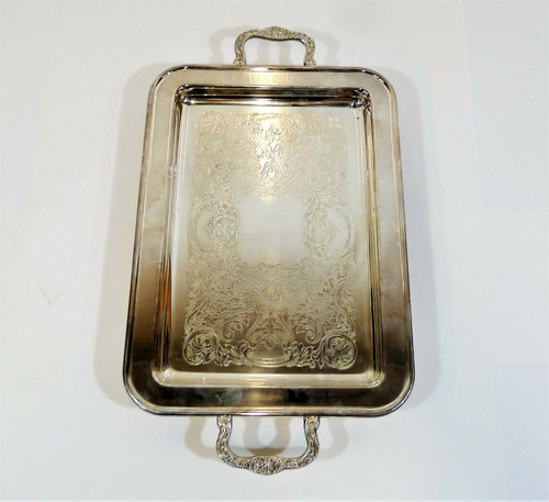 Leonard Silverplate Footed Serving Tray 17 x 9 3/8 x 1 1/2""