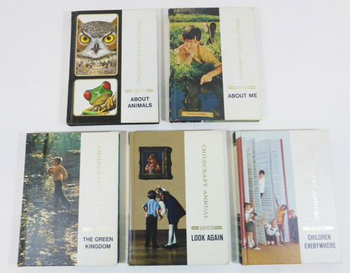 Set of 5 Vintage Childcraft Annual Hardcover Books 1968, 1969, 1970, 1971, 1972