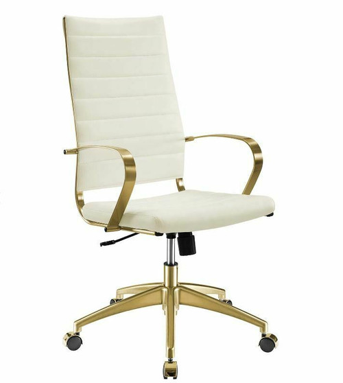 Modway Jive Stainless Steel Highback Office Chair Gold/White  LOCAL PICKUP ONLY