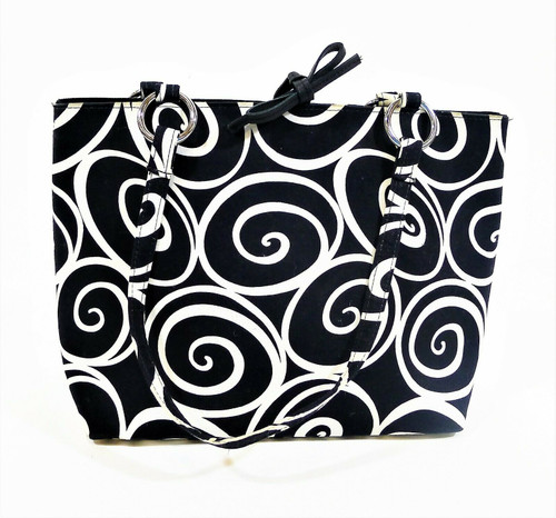 Posh Black and White Abstract Fabric Purse Bag - **SEE DESCRIPTION