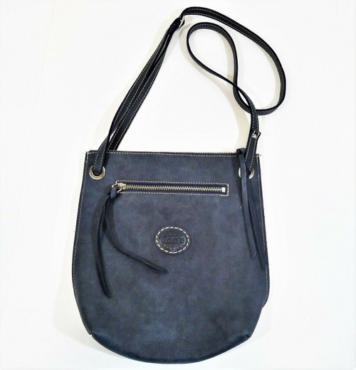 Roots Genuine Leather Blue Adjustable Strap Crossbody Purse
