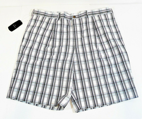 Greg Norman Men's White Pleated Plaid Golf Shorts Size 40 - NEW WITH TAGS