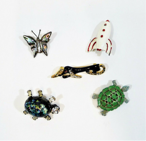 Lot of 5 Lapel Pins Brooches  - Dog, Turtle, Space Ship and More **SEE DESCR.