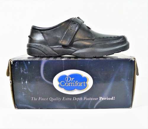 Dr. Comfort Men's Black Leather Frank Adjustable Strap Diabetic Shoes Size 9.5 M