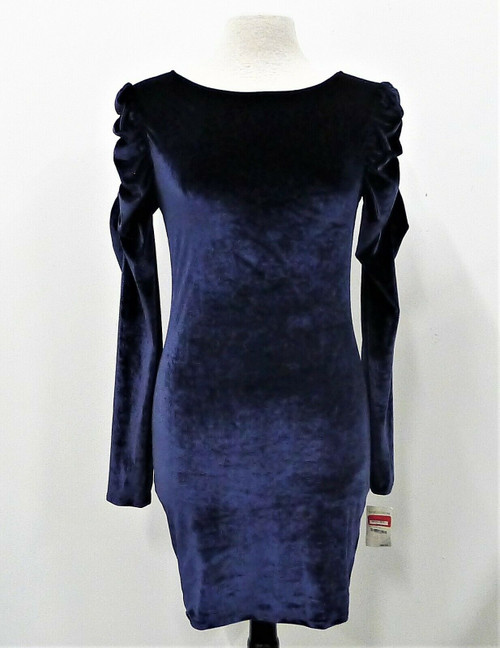 Leith Women's Navy Crushed Velvet Medieval Scrunched Sleeves Dress Size M - NEW