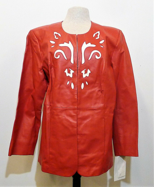 Pamela McCoy Collections Women's Red Leather Jacket Size 1X - NEW WITH TAGS
