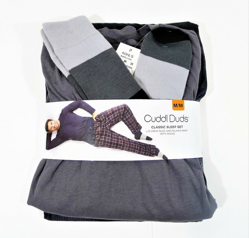 Cuddl Duds Men's Classic Sleep Set Crew Neck Pajama Pant and Socks Size M