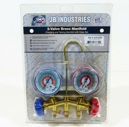 JB Industries 2-Valve Brass Manifold Gauge Set M2-5-410A-HD R22,R404A,R410A  NEW