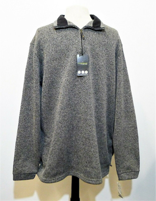 Haggar In Motion Men's Gray Long Sleeve 1/4 Zip Pull Over Shirt Size XLT - NEW