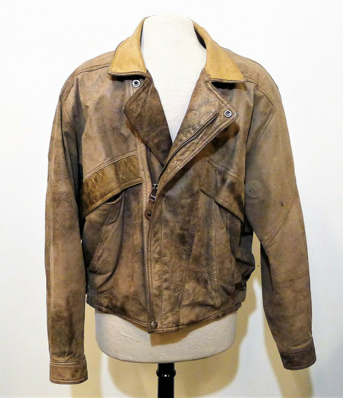 Mirage Men's Distressed Leather Bomber Jacket Size M
