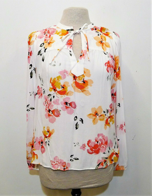 Loft Women's White Floral Print Long Sleeve Blouse Shirt Size S - NEW WITH TAGS