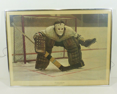 """""""At The Crease"""" by Ken Danby 1972 Private Collection Toronto Framed Print Signed"""