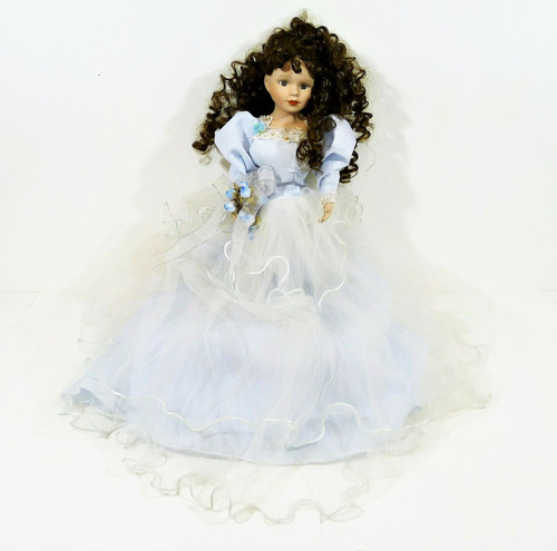 "16"" Porcelain and Cloth Doll with Blue Tulle Dress Brown Curly Hair Brown Eyes"