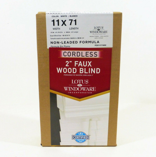 "Lotus & Windoware 2"" Cordless Faux Wood Blinds in White 11x71  FCX1171WH  NEW"