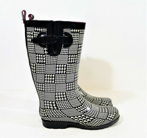 Capelli New York Women's Black/Off White Houndstooth Print Rubber Boots Size 10