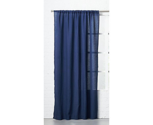 "CB2 Navy Linen Curtain Panel 48"" x 120"" - OPEN PACKAGE"