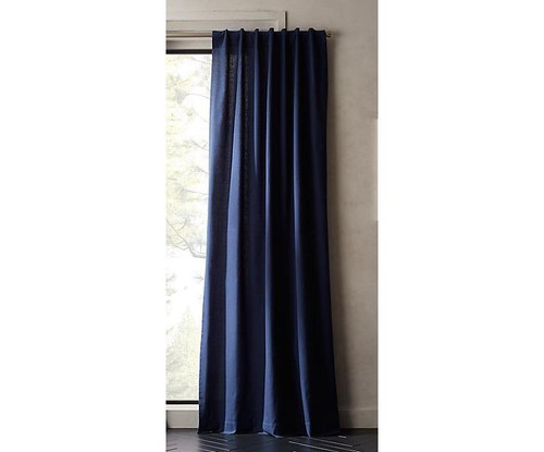"CB2 Navy Blue Basketweave II Curtain Panel 48"" x 120"" - OPEN PACKAGE"