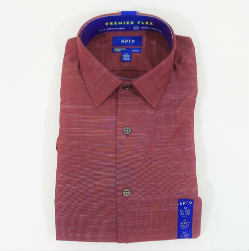 Apt 9 Men's Burgundy Long Sleeve Slim Fit Dress Shirt Size M 15-15 1/2 34/35