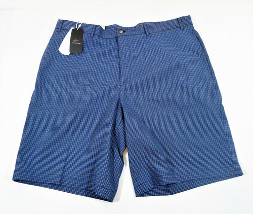 Greg Norman Navy Mini Check Flat Front Golf Shorts Size 40 - NEW WITH TAGS