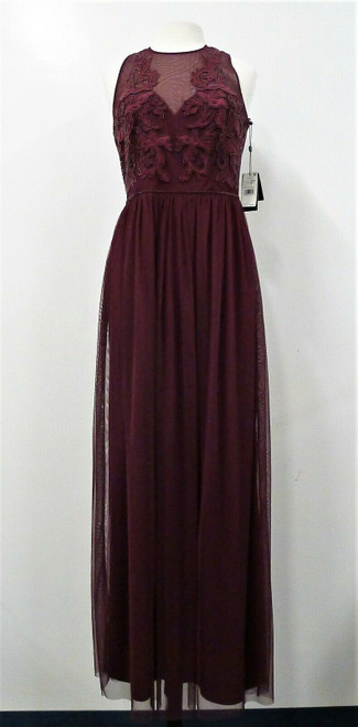 Adrianna Papell Women's Cabernet Beaded Tulle Long Dress Size 12 -NEW WITH TAGS