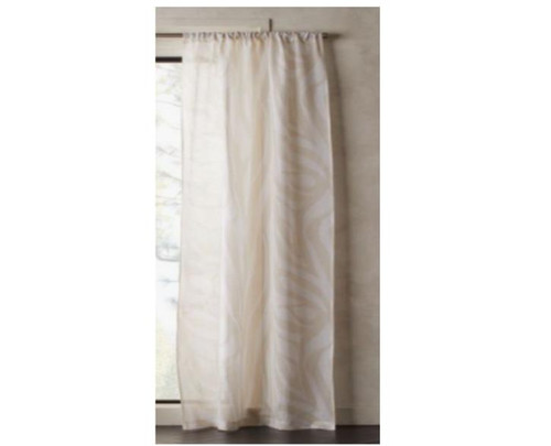 """CB2 Zebra White/Tan Curtain Panel 48"""" x 108""""  - NEW WITH DEFECTS"""