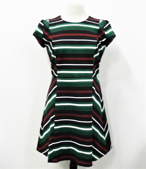 Michael Kors Black, Maroon, Green & White Striped Fit and Flare Dress Size 12