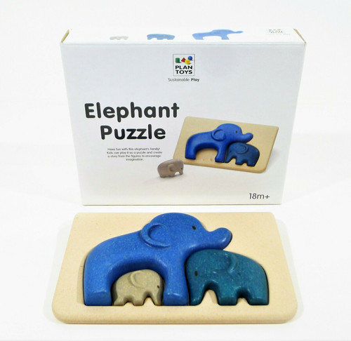 Plan Toys Toddler Elephant Family 3 Piece Puzzle - NEW