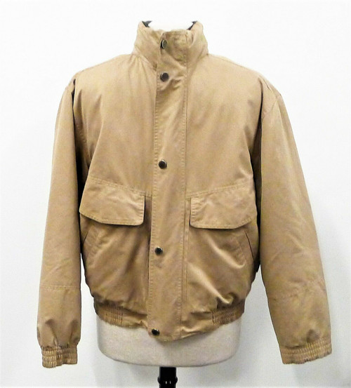 London Fog Men's Khaki Foldable Hat Removable Liner Jacket Size M **SEE DESCR.