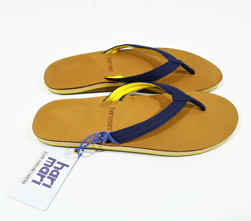 Hari Mari Women's Navy/Yellow Scouts Leather Flip Flops Sandals Shoes Size 11