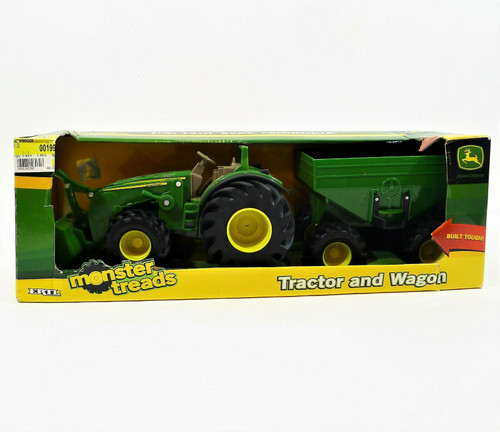 """Tomy John Deere 8"""" Monster Treads Tractor with Wagon and Loader -NEW DAMAGED BOX"""