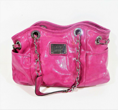 Nicole Miller Fuchsia Pink PVC Purse with Chain Strap - **MARKS ON BOTTOM