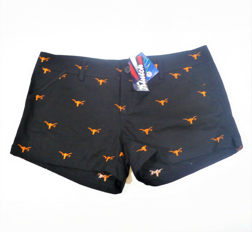 Klutch Apparel Women's Black Texas Longhorn Embroidered Shorts Size L - NEW